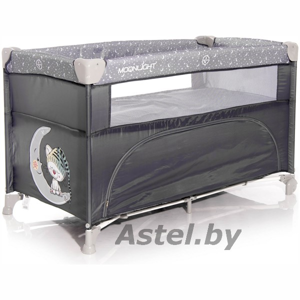 Манеж-кровать Lorelli (Bertoni) Cot Up and Down Grey Cute Moon