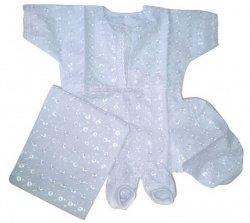 Набор крестильный для мальчика (рубашка, берет, уголок, пинетки) 15027