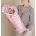 Одеяло-конверт на выписку из роддома Атлас-Розовый  / арт.27