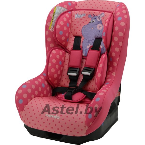 Автокресло Nania Driver Animals (0-18кг) HIPPO FUSHIA розовый